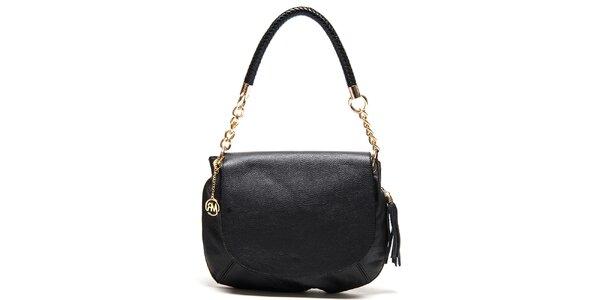 Dámska čierna kožená kabelka s kombinovaným pútkom Roberta Minelli