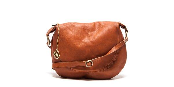 Dámska hnedá kožená kabelka cez rameno Roberta Minelli