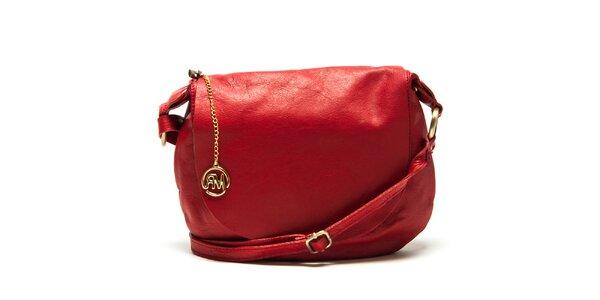 Dámska červená kožená kabelka cez rameno Roberta Minelli