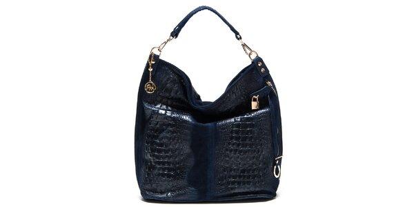 Dámska modrá lesklá kabelka s reliéfnym vzorom Roberta Minelli