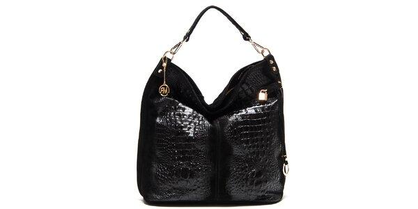 Dámska čierna lesklá kabelka s reliéfnym vzorom Roberta Minelli