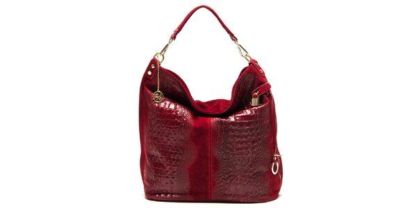 Dámska červená lesklá kabelka s reliéfnym vzorom Roberta Minelli