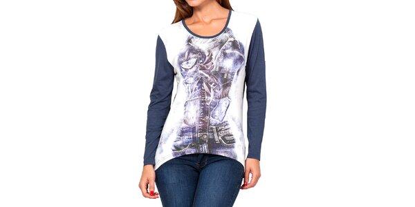 Dámske modro-biele tričko s potlačou Kool