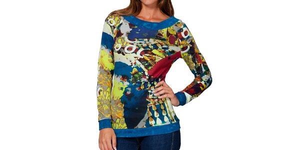 Dámske farebné tričko s modrým lemovaním Kool