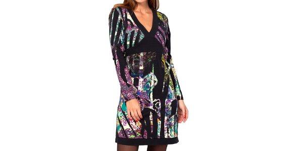 Dámske farebné vzorované šaty s véčkovým výstrihom Kool