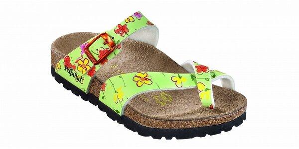 Detské svetlo zelené papuče Papillio s kvetinovým vzorom