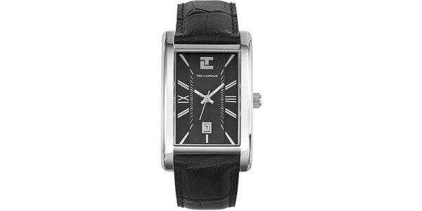 Pánske hodinky s hranatým ciferníkom a čiernym koženým remienkom Ted Lapidus