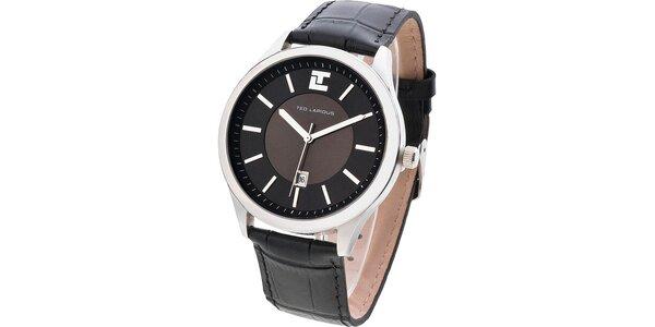 Pánske tmavé hodinky s okrúhlym ciferníkom Ted Lapidus