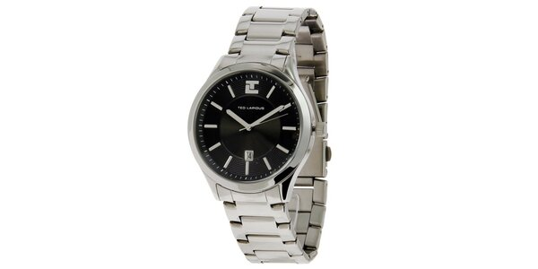 Pánske oceľové hodinky s čiernym ciferníkom Ted Lapidus