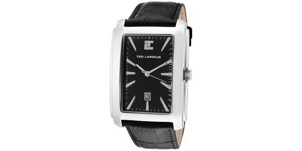 Pánske hodinky s hranatým ciferníkom a čiernym remienkom Ted Lapidus