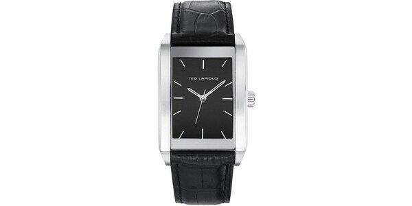 Pánske hodinky s čiernym hranatým ciferníkom Ted Lapidus