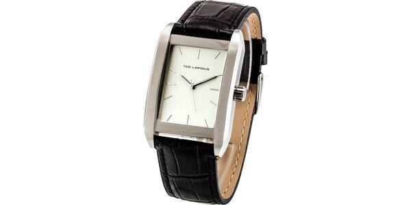 Pánske oceľové hodinky s hranatým svetlým ciferníkom Ted Lapidus