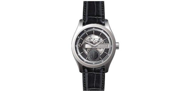 Pánske oceľové hodinky s koženým remienkom čiernej farby Ted Lapidus