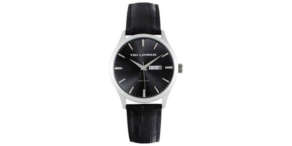 Pánske oceľové hodinky s čiernym okrúhlym ciferníkom Ted Lapidus