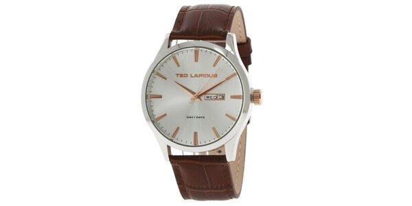 Pánske oceľové hodinky s koženým remienkom hnedej farby Ted Lapidus