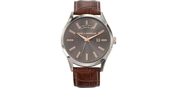 Pánske oceľové hodinky so šedým ciferníkom Ted Lapidus