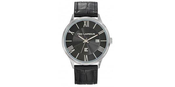 Pánske oceľové hodinky s výrazným čiernym okrúhlym ciferníkom Ted Lapidus