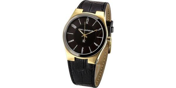 Pánske čierne hodinky so zlatými prvkami Ted Lapidus