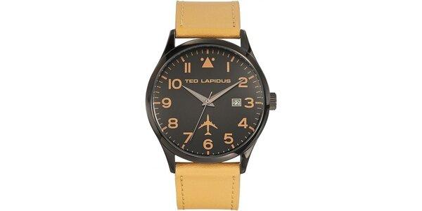 Pánske čierne hodinky so žltým remienkom Ted Lapidus