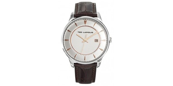 Pánske oceľové hodinky s tmavo hnedým remienkom Ted Lapidus