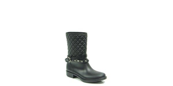 Dámske čierne prešívané topánky s remienkom Favolla