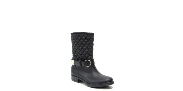 Dámske čierne prešívané topánky na opätku Favolla
