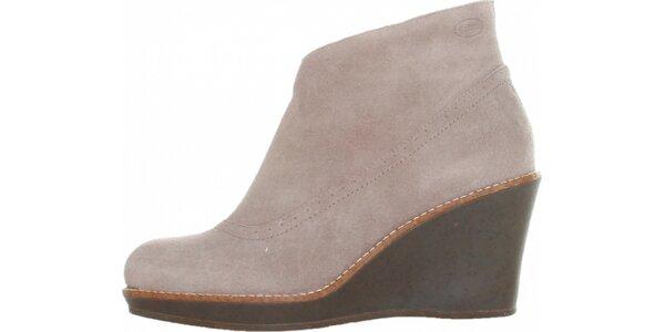 Dámske šedo hnedé semišové topánky Dr. Scholl na vysokom podpätku
