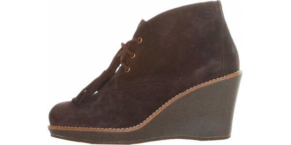 Dámske kávovo hnedé šnurovacie kotníkové topánky Dr. Scholl s podpätkom