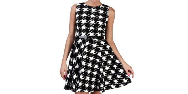 Dámske čierno-biele šaty s kohúťou stopou Pepper Tree