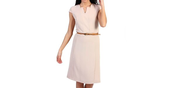 Dámske béžové púzdrové šaty s opaskom Pepper Tree