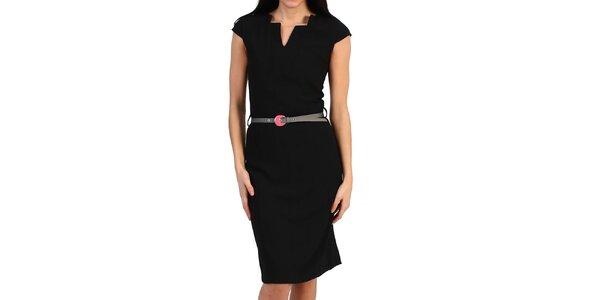 Dámske čierne púzdrové šaty s opaskom Pepper Tree