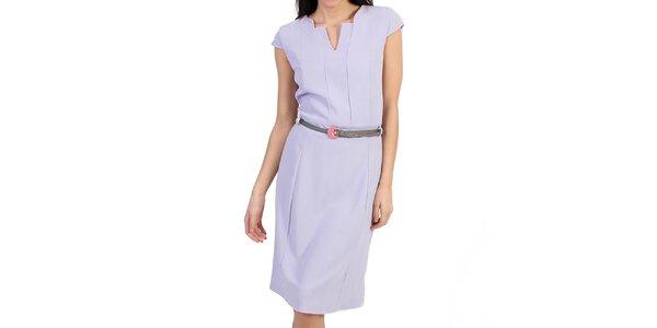 Dámske fialové púzdrové šaty s opaskom Pepper Tree