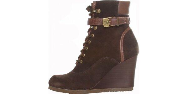 Dámske tmavo hnedé šnurovacie kotníkové topánky Dr. Scholl s podpätkom