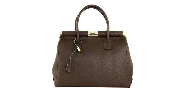 Dámska tmavo hnedá kufríková kabelka so zámčekom Kreativa bags