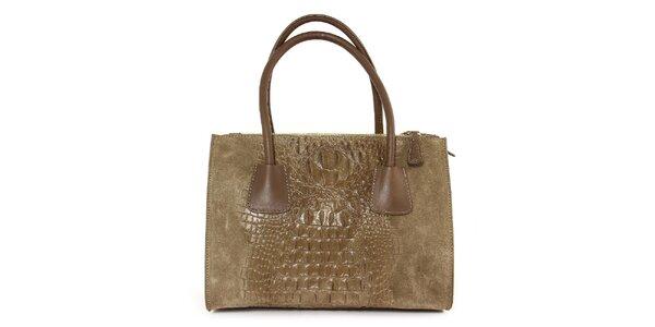 Dámska šedo-hnedá kožená kabelka so vzorom krokodílej kože Kreativa bags