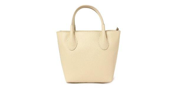 Dámska béžová kožená kabelka s dvomi pútkami Kreativa bags