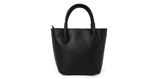 Dámska čierna kožená kabelka s dvomi pútkami Kreativa bags