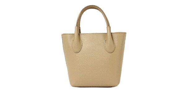 Dámska tmavo béžová kožená kabelka s dvomi pútkami Kreativa bags
