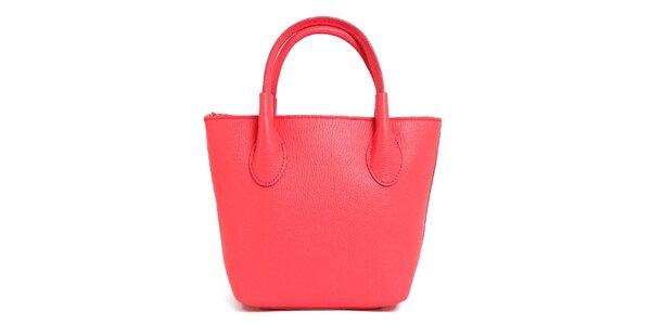 Dámska lososovo ružová kožená kabelka s dvomi pútkami Kreativa bags