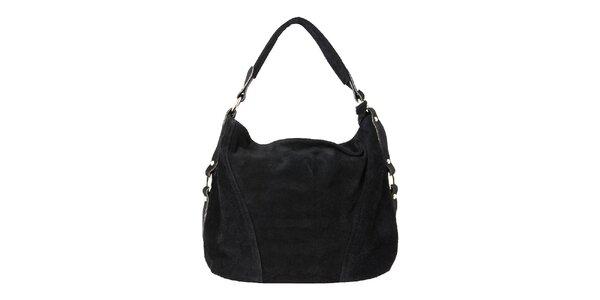 Dámska čierna kožená kabelka so zipsovým zapínaním Kreativa bags
