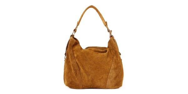 Dámska svetlo hnedá kožená kabelka so zipsovým zapínaním Kreativa bags
