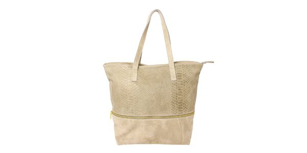 Dámska béžová kabelka s krokodílim vzorom Kreativa bags