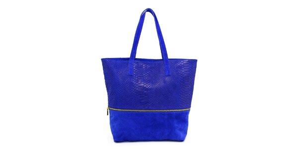 Dámska modrá kabelka s krokodílim vzorom Kreativa bags