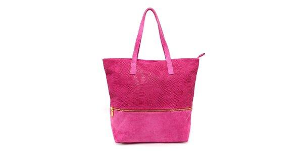 Dámska fuchsiová kabelka s krokodílim vzorom Kreativa bags
