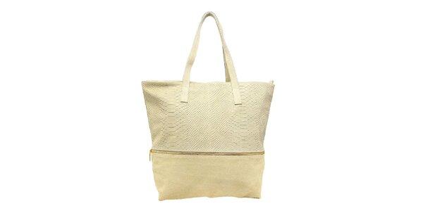 Dámska svetlo béžová kabelka s krokodílim vzorom Kreativa bags