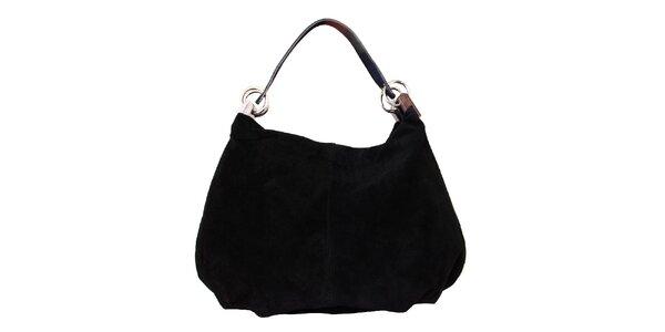 Dámska čierna kožená kabelka s pevným popruhom Kreativa bags
