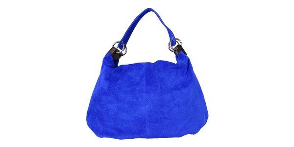 Dámska modrá kožená kabelka s pevným popruhom Kreativa bags
