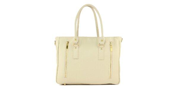Dámska smotanová kožená kabelka s dvomi zipsami Kreativa bags