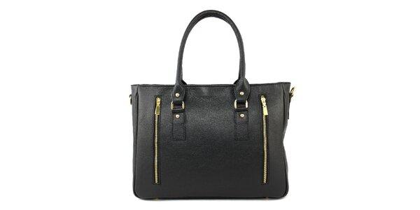 Dámska čierna kožená kabelka s dvomi zipsami Kreativa bags