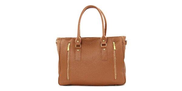 Dámska hnedá kožená kabelka s dvomi zipsami Kreativa bags